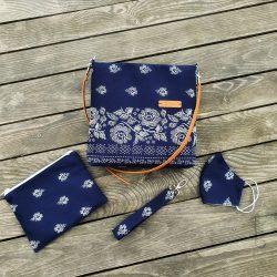 taška handmade gabi.ka modrá ľudový motív
